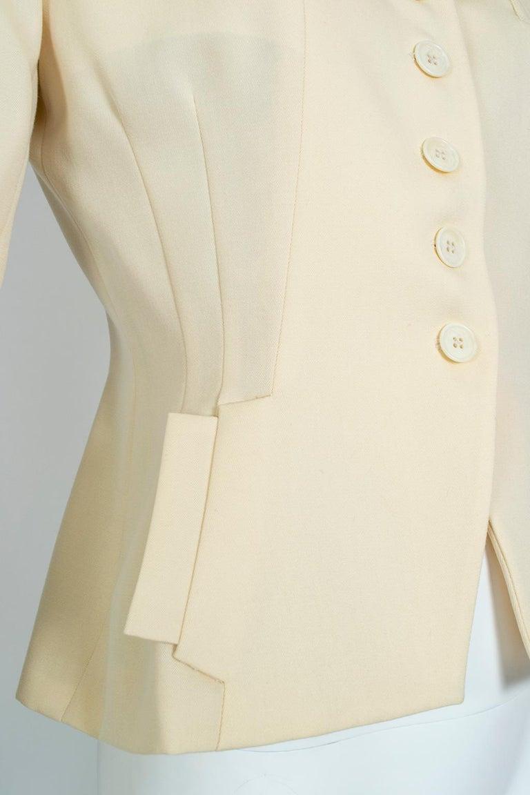 Norma Kamali Winter White Bar Jacket Peplum Blazer – US 2, 1980s For Sale 4