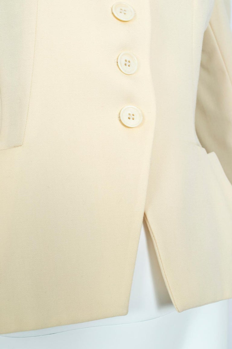 Norma Kamali Winter White Bar Jacket Peplum Blazer – US 2, 1980s For Sale 5