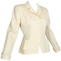 Norma Kamali Winter White Bar Jacket Peplum Blazer – US 2, 1980s