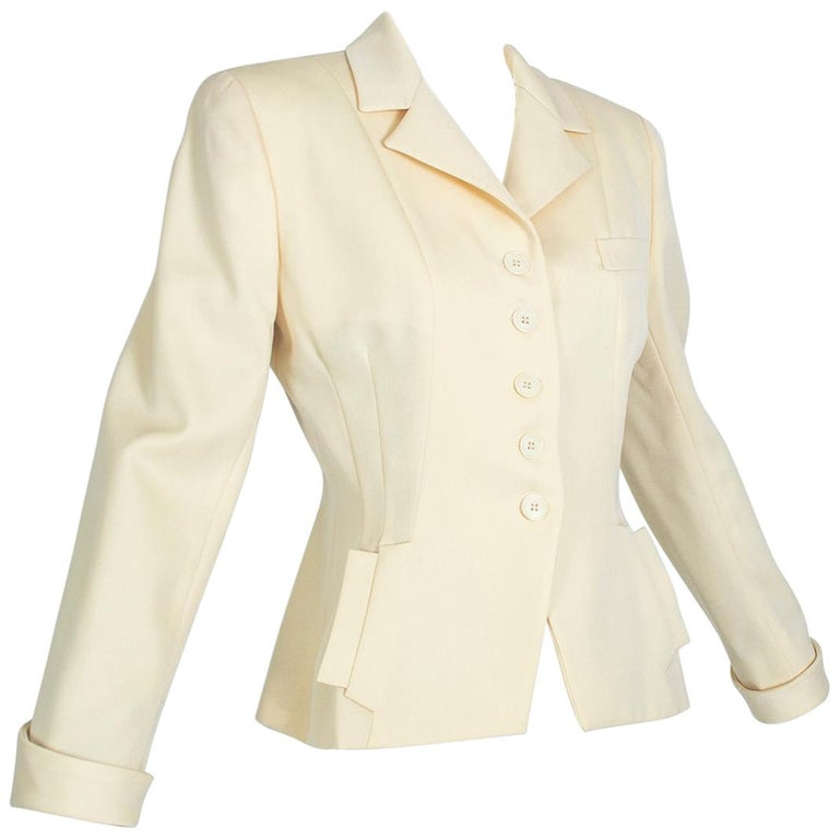 Norma Kamali Winter White Bar Jacket Peplum Blazer – US 2, 1980s For Sale