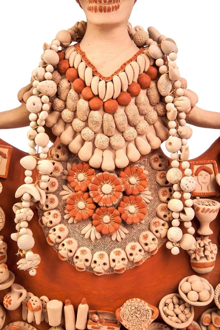 Catrina con Ofrenda de Muertos / Ceramics Mexican Folk Art Clay - Orange Abstract Sculpture by Norma Vazquez Gutierrez