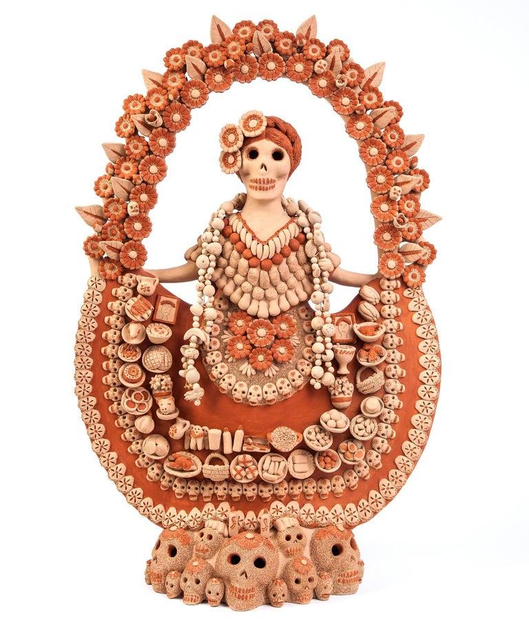 Norma Vazquez Gutierrez Abstract Sculpture - Catrina con Ofrenda de Muertos / Ceramics Mexican Folk Art Clay