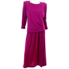 Norma Walters Vintage 1980s Deep Magenta Fuchsia Pink Knit 2 Piece Dress