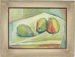 Antique American Modernist Cubist Fruit Still Life Signed Texas Oil Painting