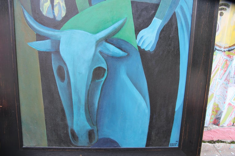 Large figurative abstract in a cubist style similar to that of Picasso's Blue Period paintings. The work is signed and dated by the artist in the bottom corner. The canvas is framed in a black frame. Dimensions without Frame: H 66 in x W 36 in x D 1