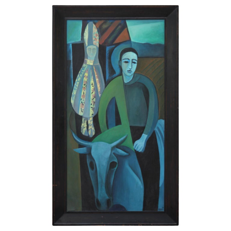 Norman Baasch Figurative Painting - Large Untitled Picasso Style Cubist Figurative Abstract
