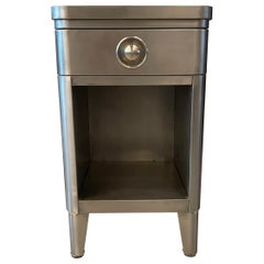 Norman Bel Geddes Brushed Steel Nightstand End Table