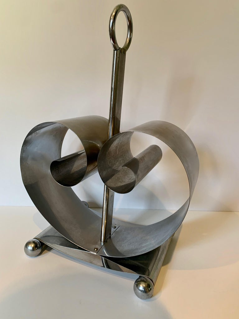 Stainless Steel Norman Bel Geddes Magazine Rack For Sale