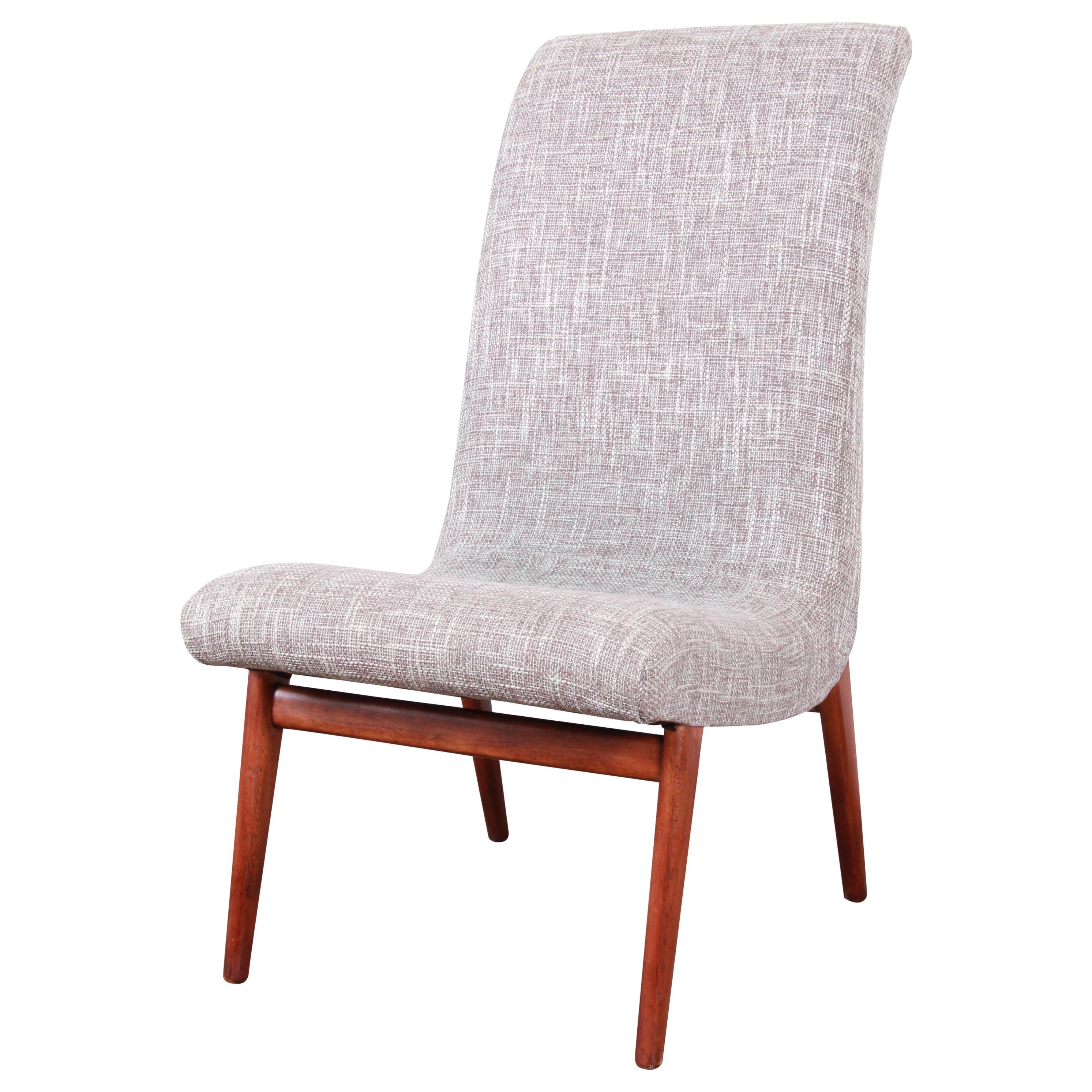 Norman Bel Geddes Mid-Century Modern Slipper Chair, Newly Reupholstered