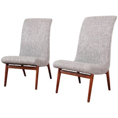 Norman Bel Geddes Mid-Century Modern Slipper Chairs, Newly Reupholstered