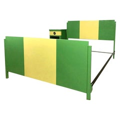 Norman Bel Geddes Mid-Century Modern Two-Tone Art Deco Twin Bed with Nightstand