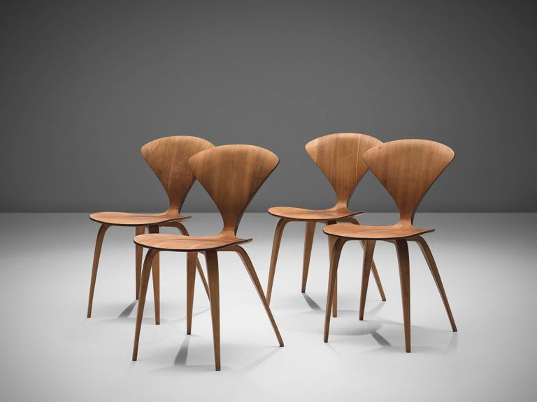 Mid-Century Modern Norman Cherner for Plycraft Four Walnut Dining Chairs For Sale
