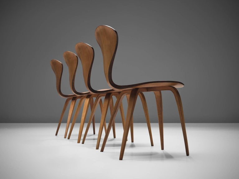 American Norman Cherner for Plycraft Four Walnut Dining Chairs For Sale