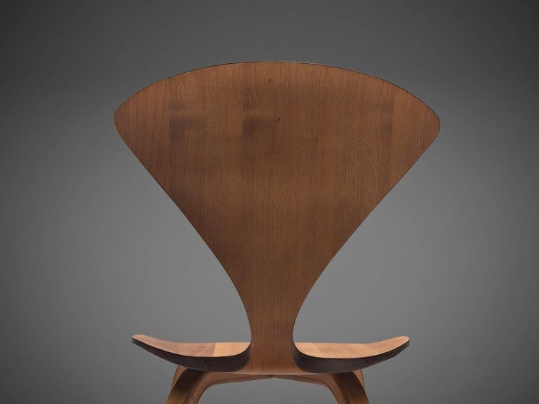 Norman Cherner for Plycraft Four Walnut Dining Chairs For Sale 1