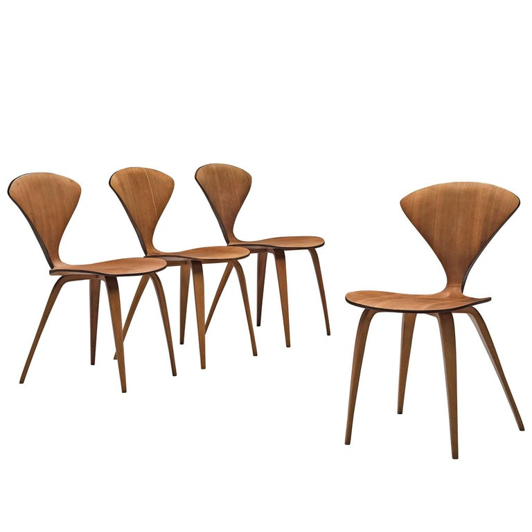 Norman Cherner for Plycraft Four Walnut Dining Chairs For Sale