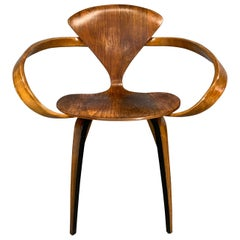 "Norman Cherner Iconic Mid-Century Modern ""Pretzel"" armchair for Plycraft Co."
