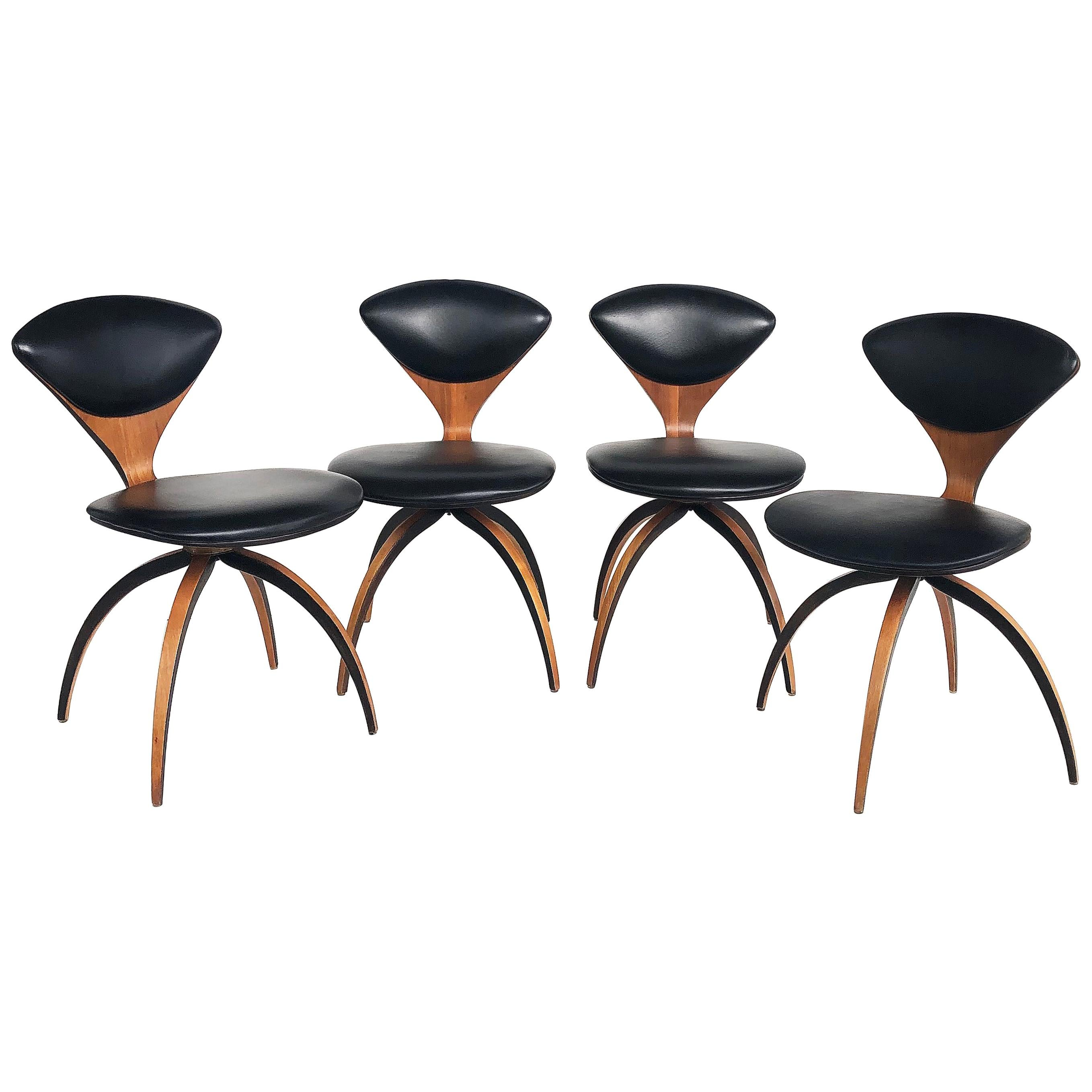 Norman Cherner Plycraft Bentwood Swivel Chairs, 1964 Set of 4