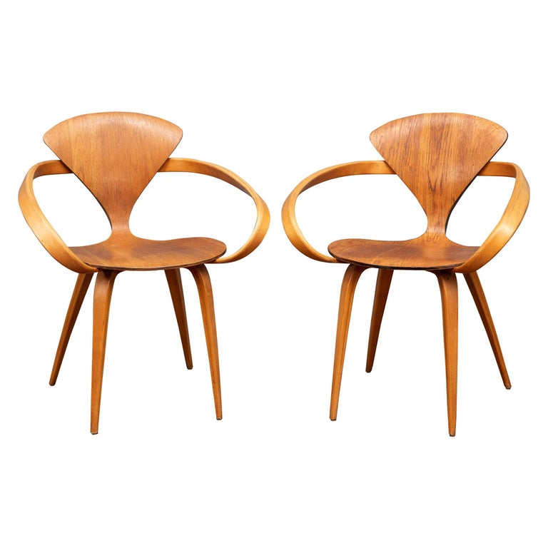 "Norman Cherner ""Pretzel"" Armchairs for Plycraft For Sale"