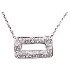 Norman Covan 18 Karat White Gold Pave Diamond Rectangle Necklace