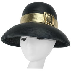 Norman Durand Black Straw Hat With Gold Buckle Band, C.1960