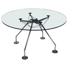 Norman Foster Table Chromed Metal Glass, 1990s