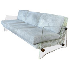 Norman Fox MacGregor for Sam Belz Monogram Lucite-Sided Long Velvet Sofa, 1960s