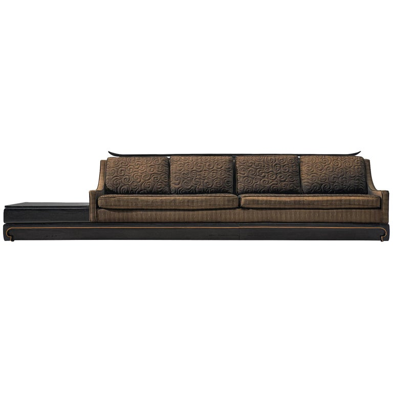 Norman Fox Platfrom Sofa in Chocolate Brown Upholstery For Sale