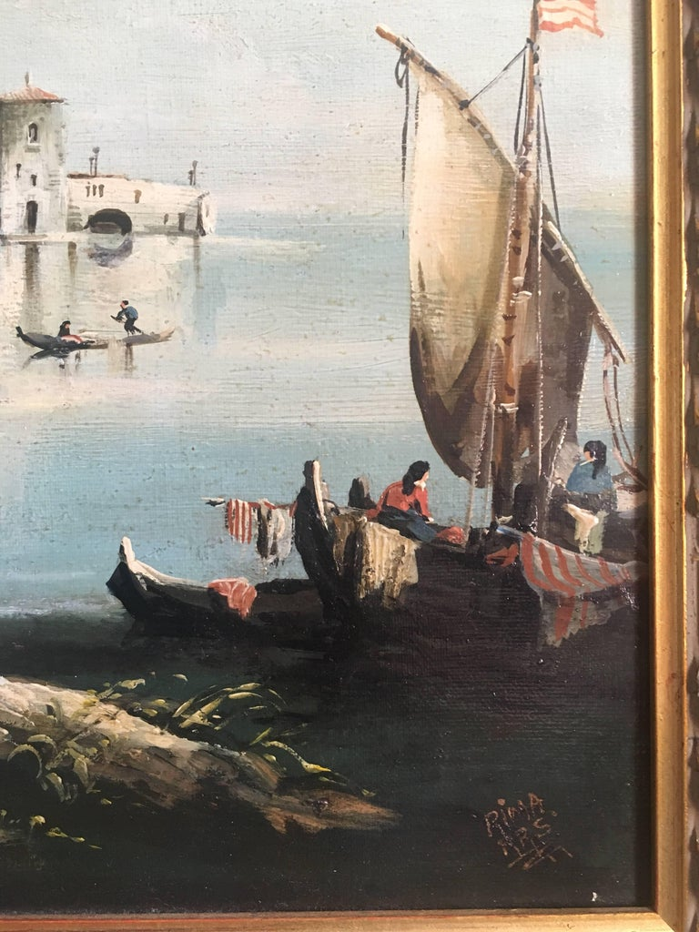 Fishermen on the Venetian Lagoon Norman Henry French, Mid 20th Century Oil painting on canvas, framed Signed on the lower right hand corner Framed size: 24 x 28 inches  Classical depiction of fishermen on the Venetian lagoon with surrounding