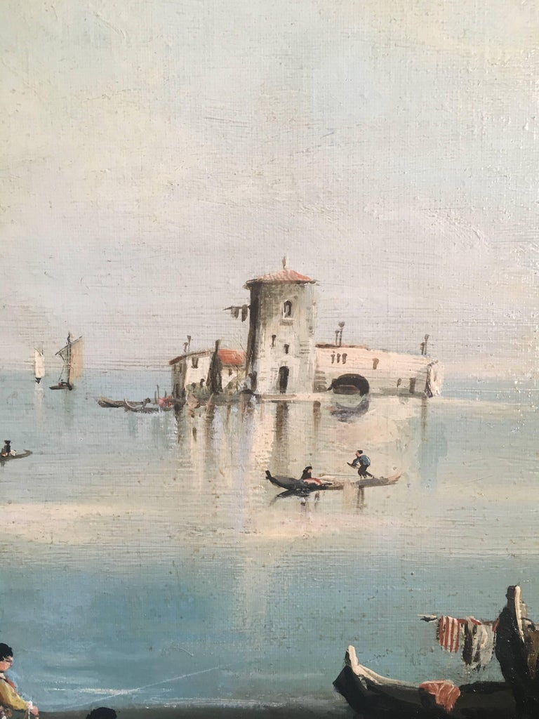 Fishermen on the Venetian Lagoon, Signed Oil Painting  For Sale 3
