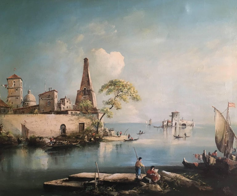 Norman Henry French Landscape Painting - Fishermen on the Venetian Lagoon, Signed Oil Painting