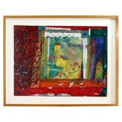 Norman Laliberte Bright Expressive Modern Abstract 87 Mixed Media Framed