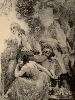 Norman Lindsay, Summer Day Adante Etching on Paper framed
