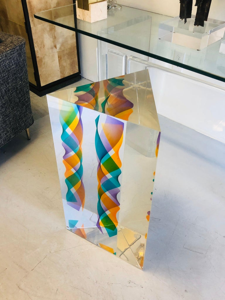 Norman Mercer Monumental Op Art Lucite Sculpture, 1993 In Good Condition For Sale In Miami, FL