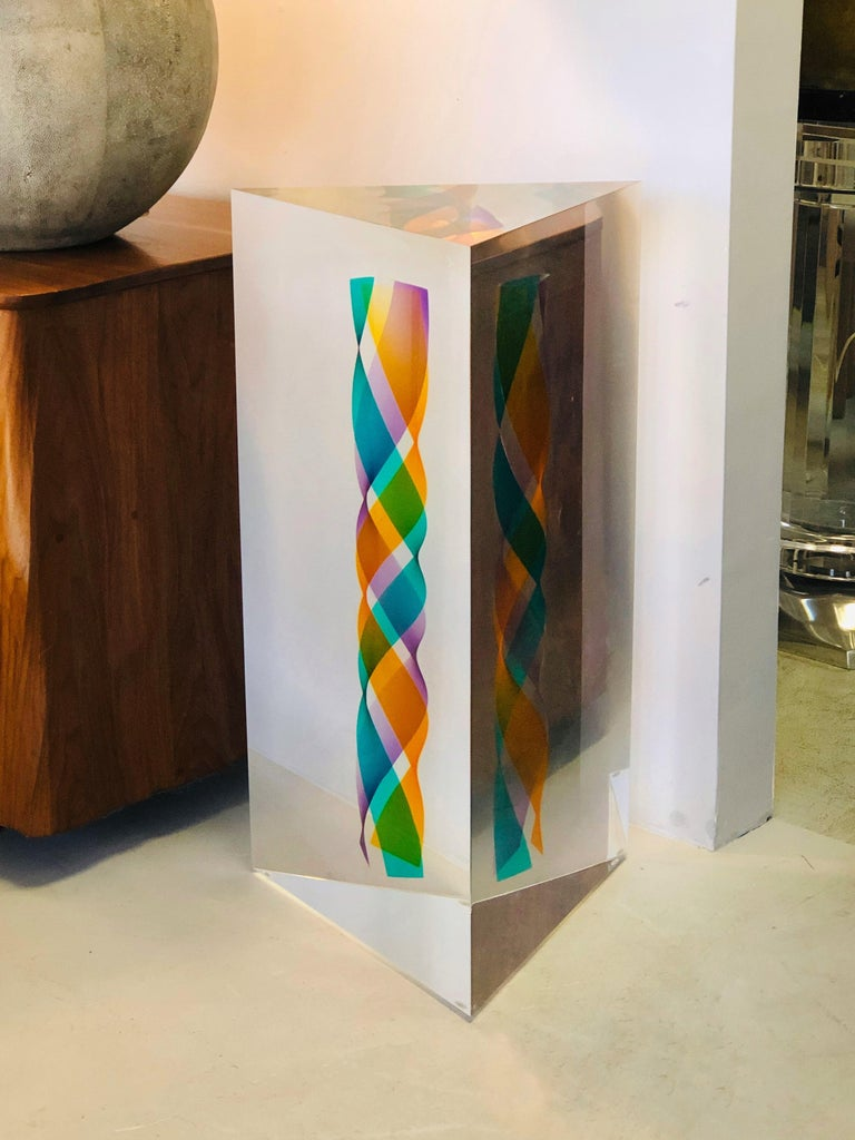 Norman Mercer Monumental Op Art Lucite Sculpture, 1993 For Sale 1