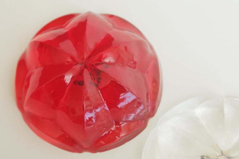 Late 20th Century Norman Mercer Red and Clear Lucite Flower Paperweights Desk Accessory Pair Of For Sale