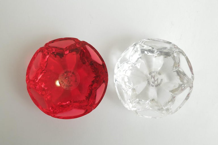 Norman Mercer Red and Clear Lucite Flower Paperweights Desk Accessory Pair Of For Sale 3