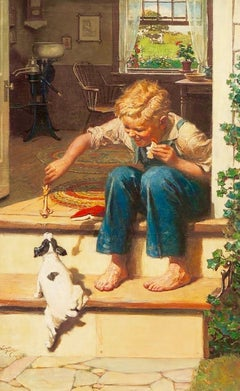 Boy Feeding Dog a Bone