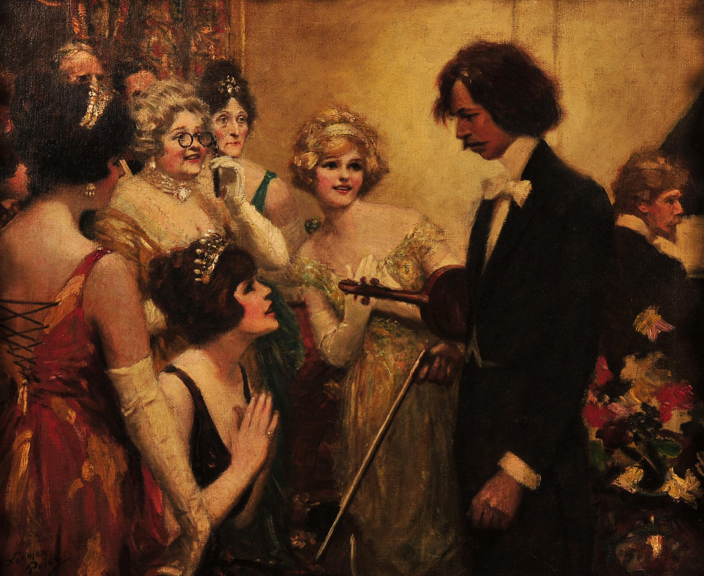 Violinist Admired by Women at Party