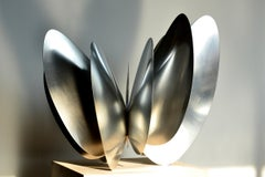 """Butterfly Effect No. 2"", Abstract Metal Sculpture, Silver, Contemporary"