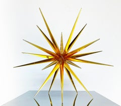 """Glass Windseed"" Cast Glass Tabletop Sculpture, Orange, Abstract"