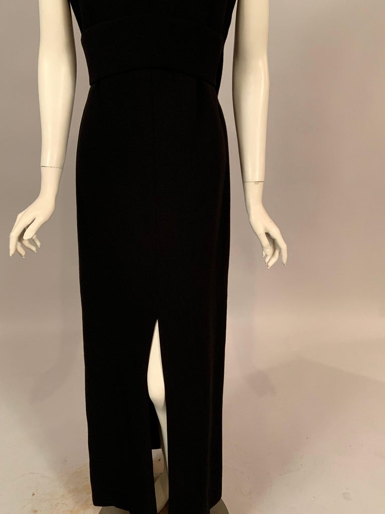 Norman Norell 1960's Classic Black Wool Crepe Evening Dress with Empire Waist In Excellent Condition In New Hope, PA