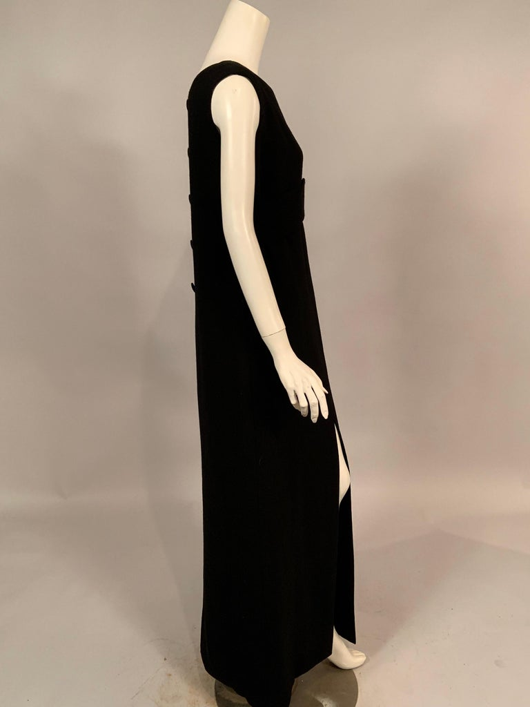 Women's Norman Norell 1960's Classic Black Wool Crepe Evening Dress with Empire Waist