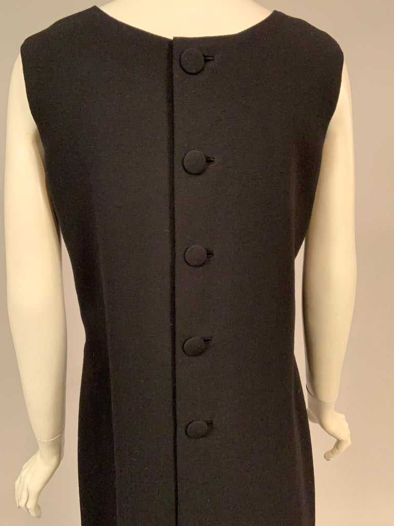 Norman Norell 1960's Classic Black Wool Crepe Evening Dress with Empire Waist 2
