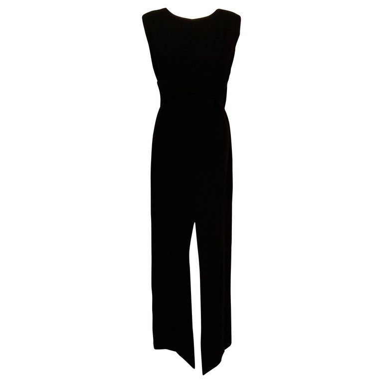 Norman Norell 1960's Classic Black Wool Crepe Evening Dress with Empire Waist
