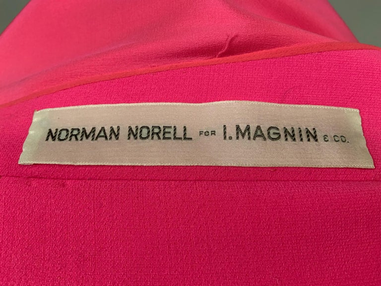 Norman Norell 1960's Classic Hot Pink Wool Crepe Evening Dress with Empire Waist For Sale 6
