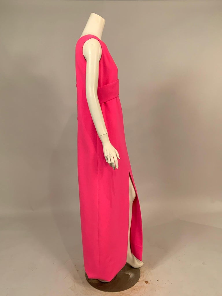 Norman Norell 1960's Classic Hot Pink Wool Crepe Evening Dress with Empire Waist In Excellent Condition For Sale In New Hope, PA