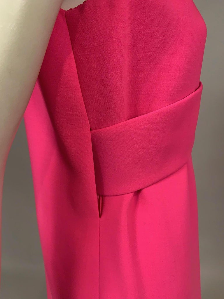Women's Norman Norell 1960's Classic Hot Pink Wool Crepe Evening Dress with Empire Waist For Sale
