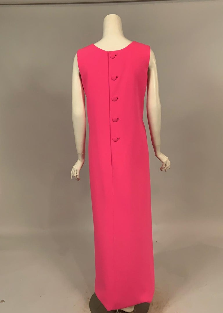 Norman Norell 1960's Classic Hot Pink Wool Crepe Evening Dress with Empire Waist For Sale 1