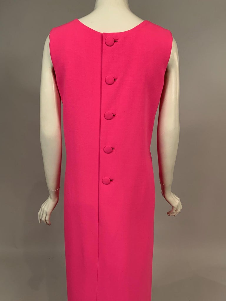 Norman Norell 1960's Classic Hot Pink Wool Crepe Evening Dress with Empire Waist For Sale 2