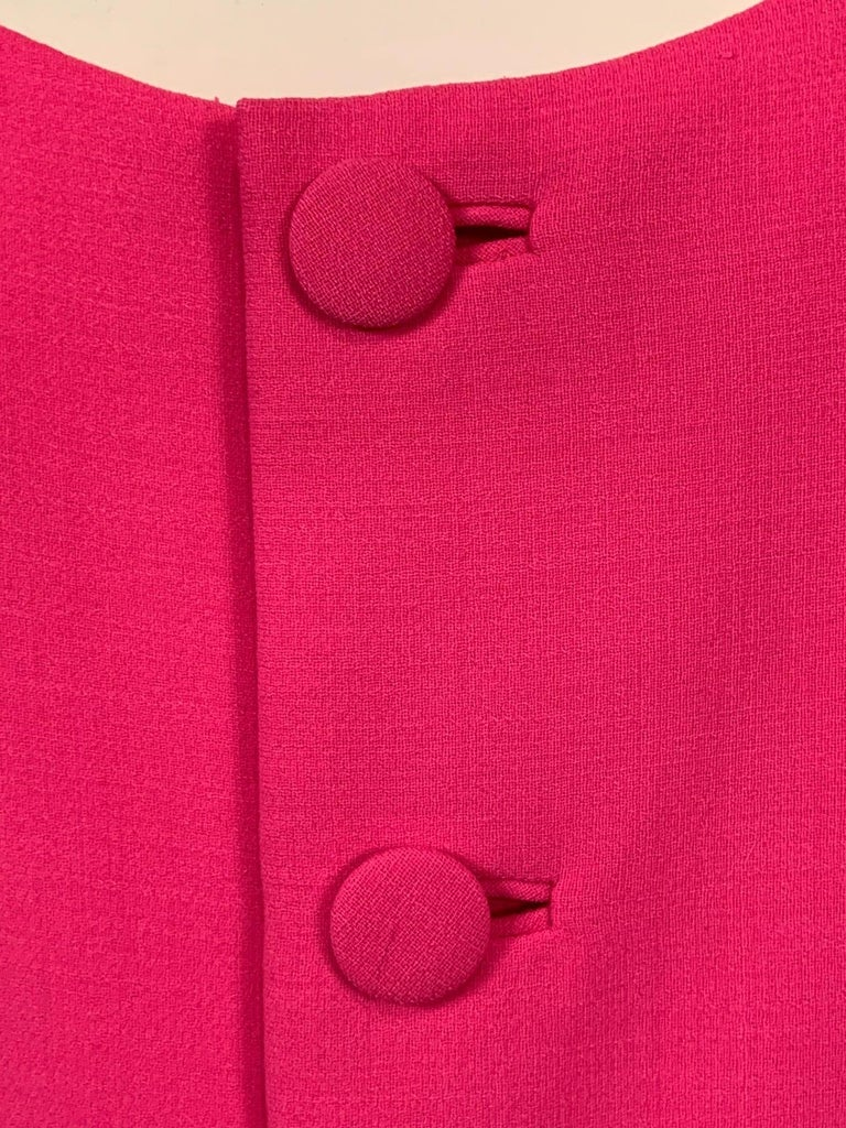 Norman Norell 1960's Classic Hot Pink Wool Crepe Evening Dress with Empire Waist For Sale 4